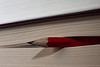 Red pencil sticking out from between pages