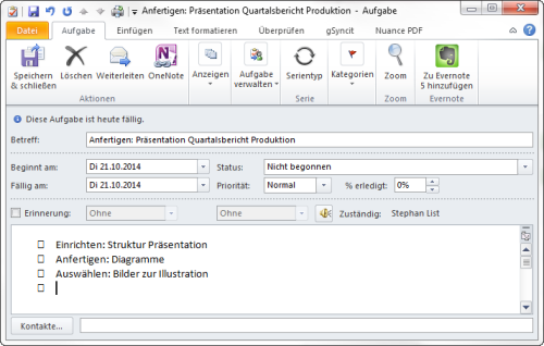 Outlook Aufgabe